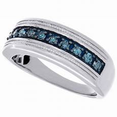 925 sterling silver mens blue diamond wedding band