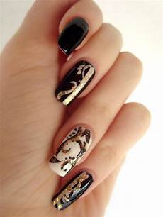 black white and gold nails by dancingginger on deviantart