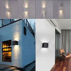 modern 7w modern led wall light up down cube indoor outdoor sconce lighting l ebay
