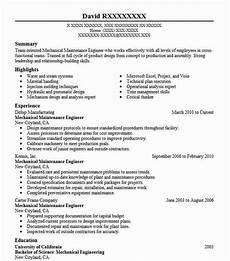 mechanical maintenance engineer resume sle livecareer