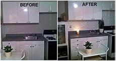 How To Paint Kitchen Tile Backsplash Faux Subway Tile Backsplash Using A Brick Stencil From