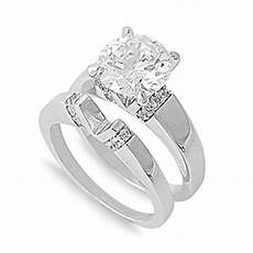 sterling silver custom engagement ring wedding band bridal set cz sizes 5 10 ebay