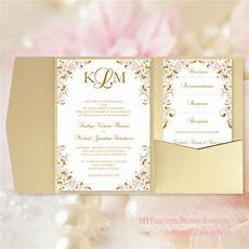 pocket fold wedding invitations kaitlyn blush pink gold