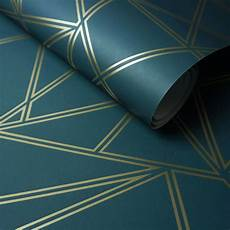 a stunning apartment with colorful geometric paladium geometric wallpaper teal gold holden 90110