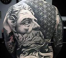 signification tatouage 689 big black and white antic statue on back with