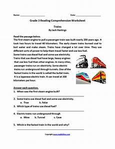 transport comprehension worksheets 15178 trains third grade reading worksheets third grade reading worksheets