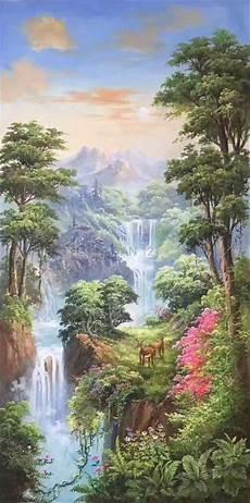 23 Gambar Lukisan Pemandangan Air Terjun Pemandangan