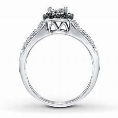 1 carat beautiful princess halo white and black diamond engagement ring jeenjewels