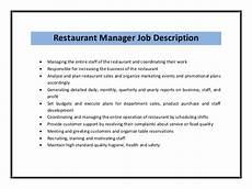 Kitchen Manager Description Pdf by Restaurant Manager Resume Sle Pdf