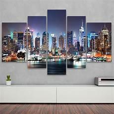 kunstdruck 5 teilige leinwand new york city skyline