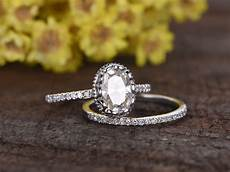 1 5 carat oval moissanite wedding sets 14k white gold diamond bridal ring retro vintage eternity