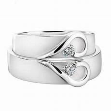 his and hers white gold heart wedding bands by diamond affair notonthehighstreet com