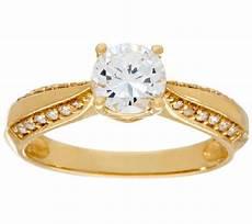 diamonique 1 00ct solitaire ring 14k gold page 1 qvc com