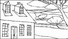 Gratis Malvorlagen Haus Haus Mit Fenstern Ausmalbild Malvorlage Landschaften
