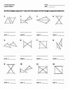 triangle congruence worksheet practice problems by dr
