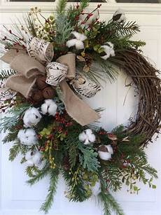 wreath for front door cotton boll wreath