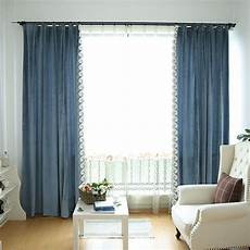 Gardinen Modern Schlafzimmer - blue solid wide modern bedroom curtains