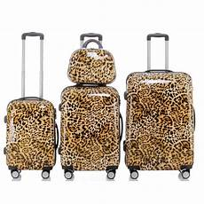 trolley koffer set quot leopard quot 4 teilig 3 trolleys