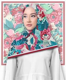 Jilbab Segi Empat Motif Bird Flower Painting Printout Shop