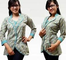 15 Model Baju Batik Lengan Panjang Wanita Modern 2018