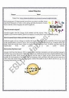 animal migration esl worksheets 14297 animal migration reading comprehension esl worksheet by vanedeakin84