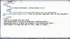 html inline style style attribute tutorial youtube