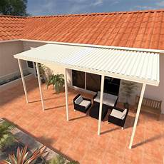 integra 8 ft 24 ft ivory aluminum attached solid patio cover with 5 posts maximum roof load