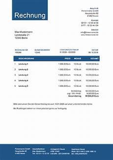 kleinunternehmer rechnung rechnungsvorlagen f 252 r