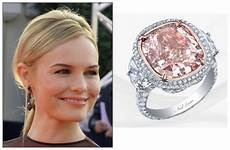kate bosworth cushion cut pink diamond engagement ring wearing fancy color