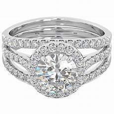 3 pieces cut wedding engagement bridal ring