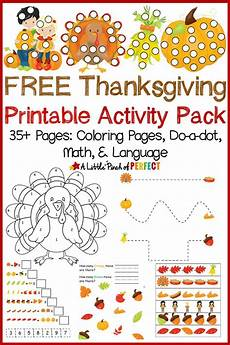free thanksgiving printable activity including coloring pages do a dot math and language