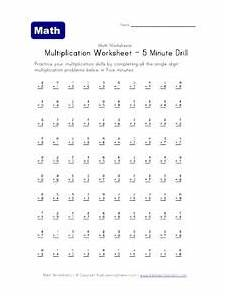 multiplication worksheets number 5 4517 multiplication worksheet 5 minute drill worksheet for 4th grade lesson planet