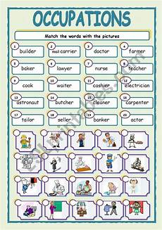 occupations esl worksheet by jhansi