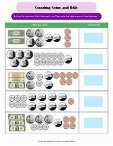 counting bills and coins third grade math worksheets biglearners