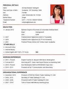 contoh curriculum vitae cv bahasa inggris resume format resume template resume
