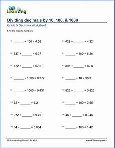 patterns with decimals worksheets 67 grade 5 division of decimals worksheets free printable k5 learning