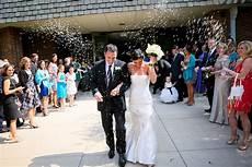 wedding rice throwing aftewhite mordern wedding dressr the