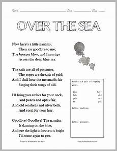 poem worksheets for grade 4 25551 quot the sea quot poem worksheet student handouts