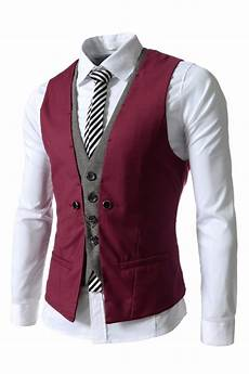 mens burgundy business layered suit vests