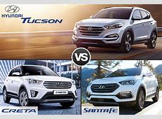 Compare Hyundai Tucson vs Creta vs Santa Fe   SAGMart.com