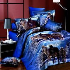 4pcs Suit 3d Snowfield Wolf Reactive Dyeing Polyester