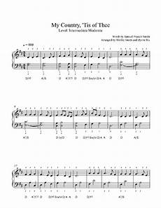 my country tis of thee by traditional piano sheet music intermediate level