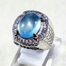 jual cincin batu akik permata natural blue aquamarine berly ring alpaka super termurah
