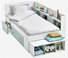 lit plateforme avec rangements baseo blanc gris clair pas