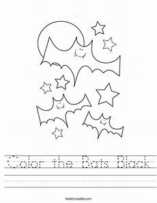 color the bats black worksheet twisty noodle