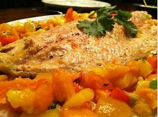baked steelhead trout salmon with apricot salsa_image