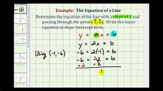 ex find the equation of a line in slope intercept form given the slope and a point youtube