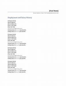 employment and salary history list templates things to remember resume template free