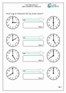 how long between time maths worksheets for year 2 age 6 7