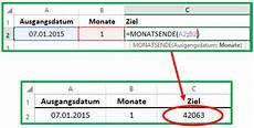 excel datum mit der funktion monatsende berechnen